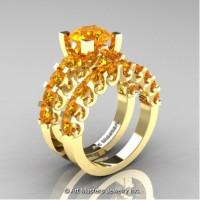 Modern Vintage 14K Yellow Gold 3.0 Carat Citrine Designer Wedding Ring Bridal Set R142S-14KYGCI