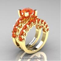 Modern Vintage 14K Yellow Gold 3.0 Carat Orange Sapphire Wedding Ring Bridal Set R142S-14KYGOS
