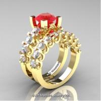 Modern Vintage 14K Yellow Gold 3.0 Carat Ruby White Sapphire Designer Wedding Ring Bridal Set R142S-14KYGWSR