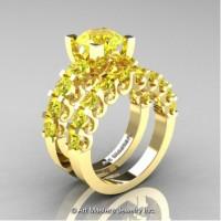Modern Vintage 14K Yellow Gold 3.0 Carat Yellow Topaz Wedding Ring Bridal Set R142S-14KYGYT
