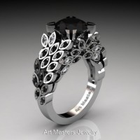 Art Masters Nature Inspired 14K White Gold 3.0 Ct Black and White Diamond Engagement Ring R299-14KWGDBD