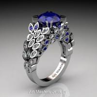 Art Masters Nature Inspired 14K White Gold 3.0 Ct Blue Sapphire Diamond Engagement Ring R299-14KWGDBS