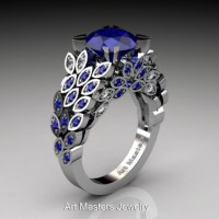 Art Masters Nature Inspired 14K White Gold 3.0 Ct Blue Sapphire Diamond Engagement Ring R299-14KWGDBSS