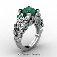 Art Masters Nature Inspired 14K White Gold 3.0 Ct Emerald Diamond Engagement Ring R299-14KWGDDEM