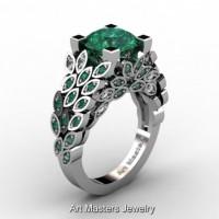 Art Masters Nature Inspired 14K White Gold 3.0 Ct Emerald Diamond Engagement Ring R299-14KWGDEMM