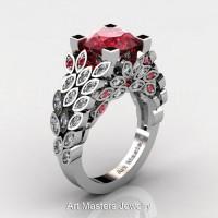 Art Masters Nature Inspired 14K White Gold 3.0 Ct Rubies Diamond Engagement Ring R299-14KWGDR
