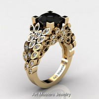Art Masters Nature Inspired 14K Yellow Gold 3.0 Ct Black and White Diamond Engagement Ring R299-14KYGDBD