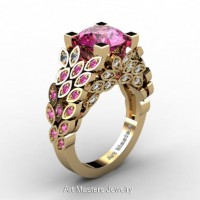 Art Masters Nature Inspired 14K Yellow Gold 3.0 Ct Pink Sapphire Diamond Engagement Ring R299-14KYGDPS
