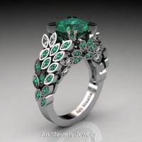 Art Masters Nature Inspired 14K White Gold 3.0 Ct Emerald Diamond Engagement Ring R299-14KWGDEM