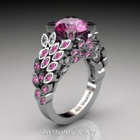 Art Masters Nature Inspired 14K White Gold 3.0 Ct Pink Sapphire and Diamond Engagement Ring R299-14KWGDPS