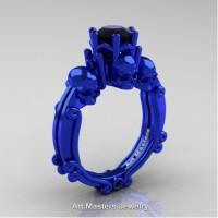 Art Masters Three Skull 14K Blue Gold 1.0 Ct Black Diamond Engagement Ring R513-14KBLGBD