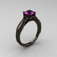 Art Nouveau 14K Black Gold 1.0 Carat Amethyst Engagement Ring R207-BGAM