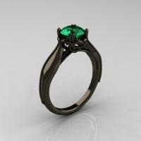Art Nouveau 14K Black Gold 1.0 Carat Emerald Engagement Ring R207-BGEM