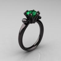 Antique 18K Black Gold 1.5 CT Emerald Engagement Ring AR127-18KBGEM