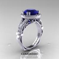 Caravaggio Italian 14K White Gold 3.0 Ct Blue Sapphire Diamond Engagement Ring Wedding Ring R620-14KWGDBS