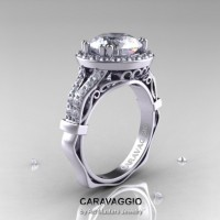 Caravaggio Italian 14K White Gold 3.0 Ct White Sapphire Diamond Engagement Ring Wedding Ring R620-14KWGDWS