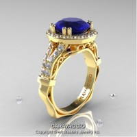Caravaggio Italian 14K Yellow Gold 3.0 Ct Blue Sapphire Diamond Engagement Ring Wedding Ring R620-14KYGDBS