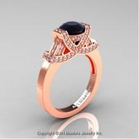 Classic Armenian 14K Rose Gold 1.0 Ct Black and White Diamond Engagement Ring R283-14KRGDBD
