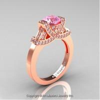 Classic Armenian 14K Rose Gold 1.0 Ct Light Pink Sapphire Diamond Engagement Ring R283-14KRGDLPS