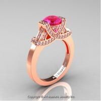 Classic Armenian 14K Rose Gold 1.0 Ct Pink Sapphire Diamond Engagement Ring R283-14KRGDPS