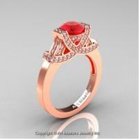 Classic Armenian 14K Rose Gold 1.0 Ct Ruby Diamond Engagement Ring R283-14KRGDR