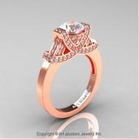 Classic Armenian 14K Rose Gold 1.0 Ct White Sapphire Diamond Engagement Ring R283-14KRGDWS