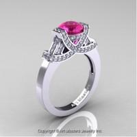 Classic Armenian 14K White Gold 1.0 Ct Pink Sapphire Diamond Engagement Ring R283-14KWGDPS