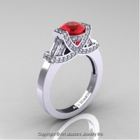 Classic Armenian 14K White Gold 1.0 Ct Ruby Diamond Engagement Ring R283-14KWGDR