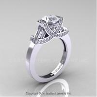 Classic Armenian 14K White Gold 1.0 Ct White Sapphire Diamond Engagement Ring R283-14KWGDWS