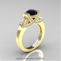 Classc-Armenian-14K-Yellow-Gold-1-0-Ct-Black-and-White-Diamond-Engagement-Ring-Wedding-Ring-R283-14KYGDBD