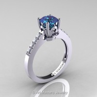 Classic French 14K White Gold 1.0 Ct Alexandrite Diamond Solitaire Ring R101-14WGDAL