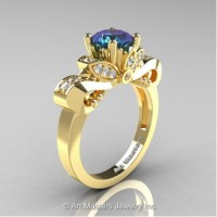 Classic 14K Yellow Gold 1.0 Ct Alexandrite White Diamond Solitaire Engagement Ring R323-14KYGDAL