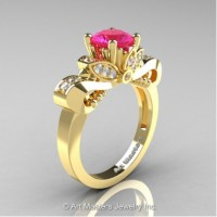 Classic 14K Yellow Gold 1.0 Ct Pink Sapphire and White Diamond Solitaire Engagement Ring R323-14KYGDPS