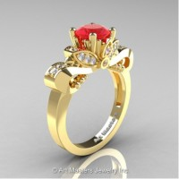 Classic 14K Yellow Gold 1.0 Ct Ruby White Diamond Solitaire Engagement Ring R323-14KYGDR