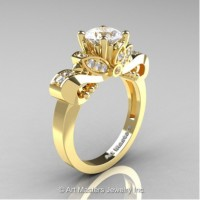 Classic 14K Yellow Gold 1.0 Ct White Sapphire White Diamond Solitaire Engagement Ring R323-14KYGDWS