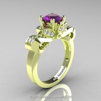 Classic 18K Green Gold 1.0 Ct Amethyst Diamond Solitaire Engagement Ring R323-18KGRGDAM