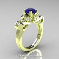 Classic 18K Green Gold 1.0 Ct Blue Sapphire Diamond Solitaire Engagement Ring R323-18KGRGDBS