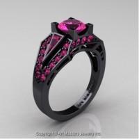Classic Edwardian 14K Black Gold 1.0 Ct Pink Sapphire Engagement Ring R285-14KBGPS