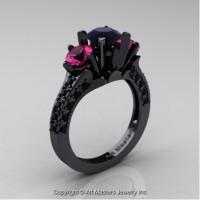 Classic French 14K Black Gold Three Stone 2.0 Ct Black Diamond Pink Sapphire Solitaire Ring R421-14KBGPSBDD