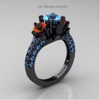 Classic French 14K Black Gold Three Stone 2.0 Ct Blue Topaz Orange Sapphire Solitaire Ring R421-14KBGOSBT