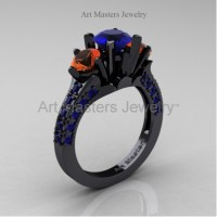 Classic French 14K Black Gold Three Stone 2.0 Ct Blue and Orange Sapphire Solitaire Ring R421-14KBGOSBS