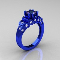 Classic French 14K Blue Gold 1.23 CT Princess Alexandrite Diamond Designer Ring R216P-14KBLGDAL
