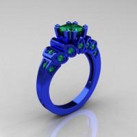 Classic French 14K Blue Gold 1.23 CT Princess Emerald Designer Ring R216P-14KBLGEM