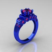 Classic French 14K Blue Gold 1.23 CT Princess Pink Sapphire Designer Ring R216P-14KBLGPS
