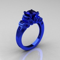 Classic French 14K Blue Gold 1.0 CT Blue Sapphire Designer Ring R216R-14KBLGBS