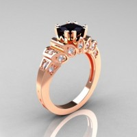 Classic French 14K Rose Gold 1.23 CT Black and White Diamond Engagement Ring R216P-14KRGDBD