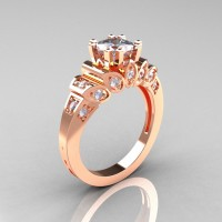 Classic French 18K Rose Gold 1.23 CT Cubic Zirconia Diamond Engagement Ring R216P-18KRGDCZ