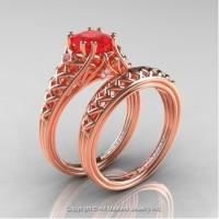 French 14K Rose Gold 1.0 Ct Princess Ruby Diamond Lace Engagement Ring Wedding Band Bridal Set R175PS-14KRGDR