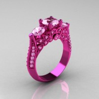 Classic 14K Pink Gold Three Stone Light Pink Sapphire Designer Solitaire Ring R200-14KPGLPS