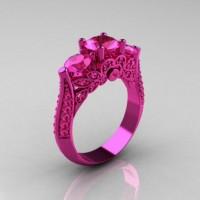 Classic 14K Pink Gold Three Stone Pink Sapphire Designer Solitaire Ring R200-14KPGPS